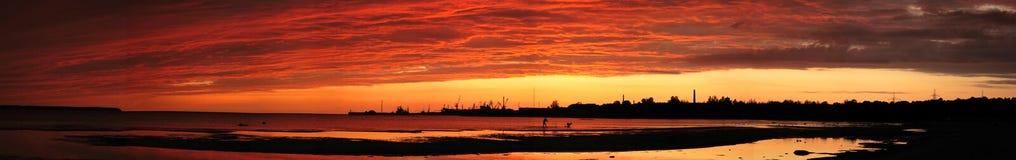 ηλιοβασίλεμα πανοράματ&omicr Στοκ Εικόνα