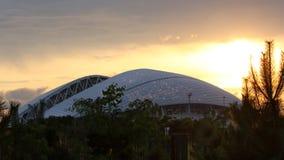 Ηλιοβασίλεμα πανοραμικό 16:9 χώρων του Sochi Fisht οριζόντιο Στοκ Φωτογραφία