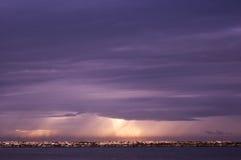 Ηλιοβασίλεμα παραλιών του Ισραήλ Τελ Αβίβ στοκ εικόνα