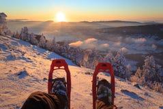 Ηλιοβασίλεμα πλεγμάτων σχήματος ρακέτας Στοκ εικόνα με δικαίωμα ελεύθερης χρήσης
