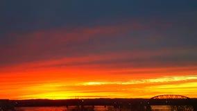 Ηλιοβασίλεμα 4 πλημμυρών της Ιντιάνα Φεβρουάριος Στοκ εικόνες με δικαίωμα ελεύθερης χρήσης