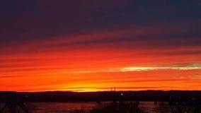 Ηλιοβασίλεμα 4 πλημμυρών της Ιντιάνα Φεβρουάριος Στοκ Εικόνα