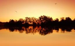 ηλιοβασίλεμα ποταμών κυ& Στοκ φωτογραφίες με δικαίωμα ελεύθερης χρήσης