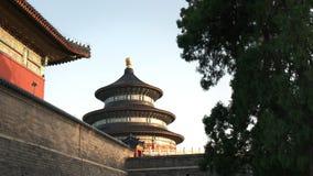 Ηλιοβασίλεμα που πυροβολείται του εξωτερικού του ναού του ουρανού, Πεκίνο απόθεμα βίντεο
