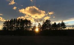 Ηλιοβασίλεμα πυράκτωσης πίσω από τα δέντρα Στοκ εικόνες με δικαίωμα ελεύθερης χρήσης