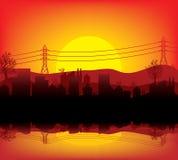 ηλιοβασίλεμα πόλεων Διανυσματική απεικόνιση