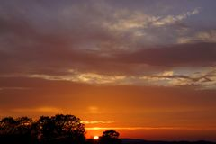Ηλιοβασίλεμα, ρόδινα σύννεφα και δέντρα σκιαγραφιών στοκ φωτογραφίες με δικαίωμα ελεύθερης χρήσης