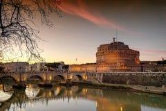 Ηλιοβασίλεμα σε Άγιο Angelo Castle στη Ρώμη, πρωτεύουσα της Ιταλίας Στοκ Φωτογραφίες