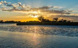 Ηλιοβασίλεμα σε μια φυσική επιφύλαξη στοκ εικόνες