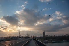 Ηλιοβασίλεμα σε Brankov η περισσότερη γέφυρα Branko ` s με νέο Βελιγράδι Novi beogradand Usce στο υπόβαθρο στοκ εικόνα με δικαίωμα ελεύθερης χρήσης