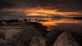 Ηλιοβασίλεμα σε Byendal Σουηδία Στοκ φωτογραφία με δικαίωμα ελεύθερης χρήσης