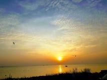 Ηλιοβασίλεμα σε Hau Giang στοκ φωτογραφίες