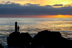 Ηλιοβασίλεμα σε Palos Verdes Καλιφόρνια στοκ εικόνες