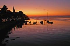 Ηλιοβασίλεμα σε Porec - την Κροατία Στοκ φωτογραφίες με δικαίωμα ελεύθερης χρήσης