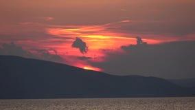 Ηλιοβασίλεμα σε Senj, Κροατία απόθεμα βίντεο