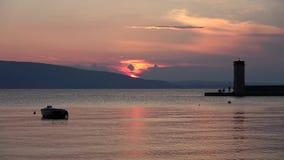 Ηλιοβασίλεμα σε Senj, Κροατία φιλμ μικρού μήκους