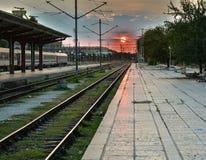 Ηλιοβασίλεμα σιδηροδρόμων Στοκ Φωτογραφία