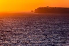 Ηλιοβασίλεμα στην ακτή στην Πορτογαλία Στοκ φωτογραφία με δικαίωμα ελεύθερης χρήσης