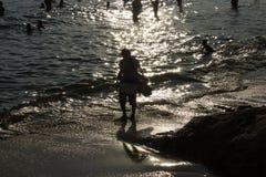 Ηλιοβασίλεμα στην παραλία Arpoador στην πόλη του Ρίο de janeiro Βραζιλία Στοκ φωτογραφίες με δικαίωμα ελεύθερης χρήσης