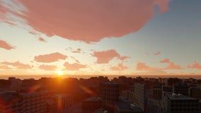 Ηλιοβασίλεμα στην πόλη και τη θάλασσα Χρονικό σφάλμα απόθεμα βίντεο