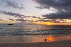 Ηλιοβασίλεμα στη θάλασσα με την καρύδα στην παραλία στοκ εικόνες με δικαίωμα ελεύθερης χρήσης