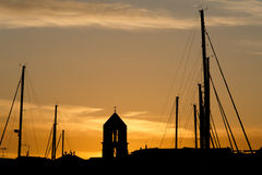 Ηλιοβασίλεμα στη μαρίνα Στοκ Εικόνες
