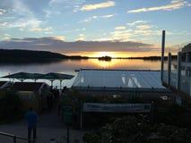 Ηλιοβασίλεμα στη μαρίνα Wackerballig Στοκ εικόνα με δικαίωμα ελεύθερης χρήσης