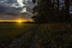 Ηλιοβασίλεμα στη χώρα - βόρεια Αλσατία, Γαλλία - πτώση στοκ φωτογραφίες με δικαίωμα ελεύθερης χρήσης