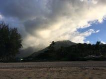 Ηλιοβασίλεμα στον κόλπο Hanalei Kauai στο νησί, Χαβάη Στοκ εικόνες με δικαίωμα ελεύθερης χρήσης
