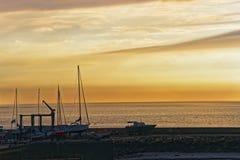 Ηλιοβασίλεμα στο αγγλικό κανάλι Trouville των Καλβάδος Νορμανδία Γαλλία Στοκ φωτογραφία με δικαίωμα ελεύθερης χρήσης