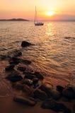 Ηλιοβασίλεμα στο Αιγαίο πέλαγος, Ελλάδα Στοκ Εικόνα