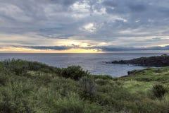 Ηλιοβασίλεμα στο Λα αλατούχο στο νησί Λα Réunion Στοκ Εικόνες