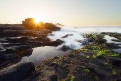 Ηλιοβασίλεμα στο Λα Houssaye στο Saint-Paul, Νήσος Ρεϊνιόν ΚΑΠ Στοκ Εικόνες