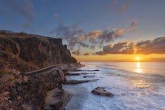 Ηλιοβασίλεμα στο Λα Houssaye στο Saint-Paul, Νήσος Ρεϊνιόν ΚΑΠ Στοκ φωτογραφίες με δικαίωμα ελεύθερης χρήσης