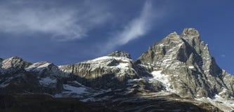 Ηλιοβασίλεμα στο υποστήριγμα Cervino, κοιλάδα Aosta Στοκ Εικόνες