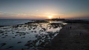 Ηλιοβασίλεμα στο χρόνος-σφάλμα του San Sebastian Castle Καντίζ Ισπανία απόθεμα βίντεο