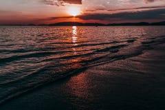 Ηλιοβασίλεμα στο AO Nang Ταϊλάνδη Στοκ εικόνες με δικαίωμα ελεύθερης χρήσης