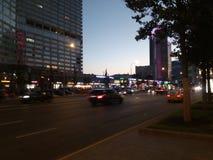 Ηλιοβασίλεμα στο Arbat & x28 Moscow& x29  Στοκ εικόνα με δικαίωμα ελεύθερης χρήσης