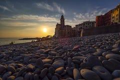 Ηλιοβασίλεμα στο camogli στοκ εικόνα