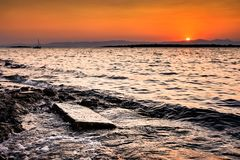 Ηλιοβασίλεμα στο erythrai ildiri Cesme στην επαρχία Ä°zmir Στοκ εικόνα με δικαίωμα ελεύθερης χρήσης