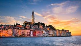 ηλιοβασίλεμα της Κροατίας rovinj Στοκ Φωτογραφία