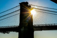 Ηλιοβασίλεμα της Νέας Υόρκης ΗΠΑ γεφυρών του Μπρούκλιν στοκ φωτογραφία