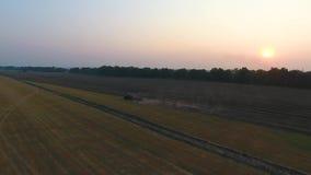 Ηλιοβασίλεμα τομέων οργώματος γεωργικών μηχανημάτων απόθεμα βίντεο