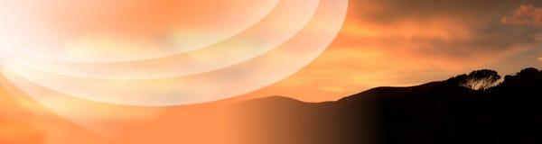 ηλιοβασίλεμα Τοσκάνη διακοπών εμβλημάτων Στοκ Εικόνα