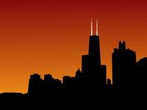ηλιοβασίλεμα του Σικάγου Στοκ Εικόνα