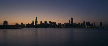 ηλιοβασίλεμα του Σικάγ Στοκ Φωτογραφία