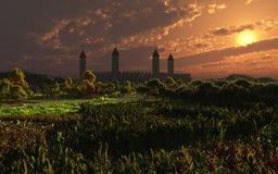 Ηλιοβασίλεμα του Castle ελεύθερη απεικόνιση δικαιώματος