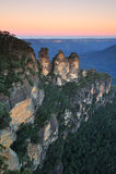 Ηλιοβασίλεμα τρεις αδελφές, μπλε βουνά, Αυστραλία Στοκ Φωτογραφία