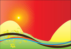 ηλιοβασίλεμα φαντασίας Διανυσματική απεικόνιση