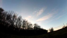 Ηλιοβασίλεμα φθινοπώρου με cirrus τα σύννεφα και τα γυμνά δέντρα timelapse απόθεμα βίντεο